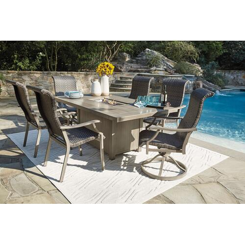 Outdoor Fire Pit Dining Table and 4 Swivel Rocker Chairs
