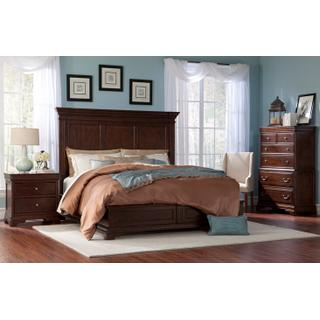 1700 King Panel Group:  King Panel Bed, Dresser, Mirror, Chest & 2 Nightstands
