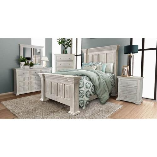 Rustic White Bed Queen Bed