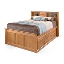 King 3 Drawer Chest Bookcase Bed with High Footboard