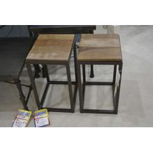 IFD wood top with metal base end table.