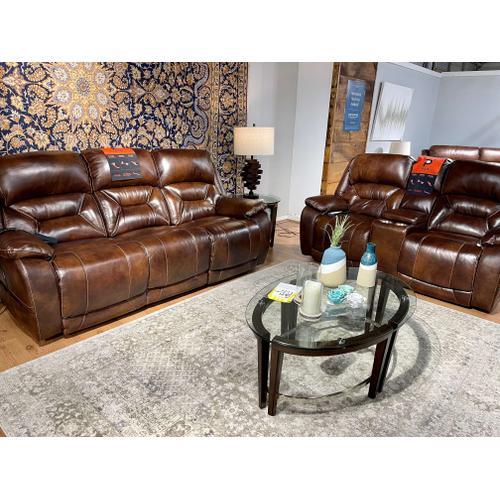 Corinthian Furniture - Vintage Carmel Leather Power Reclining Sofa & Loveseat