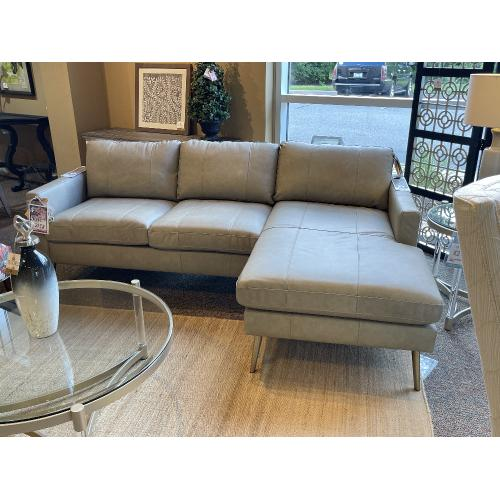 Best Craft Furniture - MODERN LEATHER SOFA WITH CHAISE
