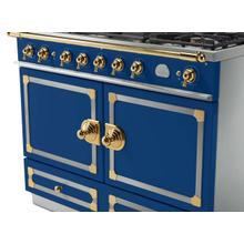 CornuFe 110 Dual Fuel Range -  Royal Blue with Stainless Steel and Polished Brass Trim