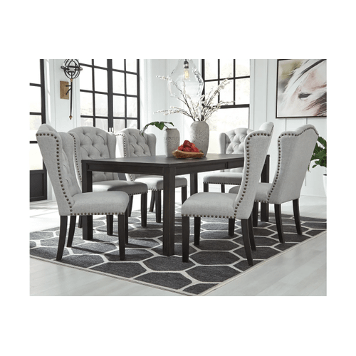 Jeanette - Black - 5 Pc. - Rectangular Table & 4 Upholstered Side Chairs