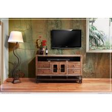 See Details - 62in TV Stand w/2 Glass doors, 4 Drawers