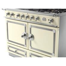 See Details - CornuFe 110 Induction Range - Suzanne Kazler Couleurs - Blanc with Stainless Steel and Polished Chrome Trim