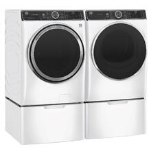See Details - GE Smart Front Load 5.0 cu. ft. Capacity Steam Washer & 7.8 cu. ft. Electric Dryer w/ Pedestals- White