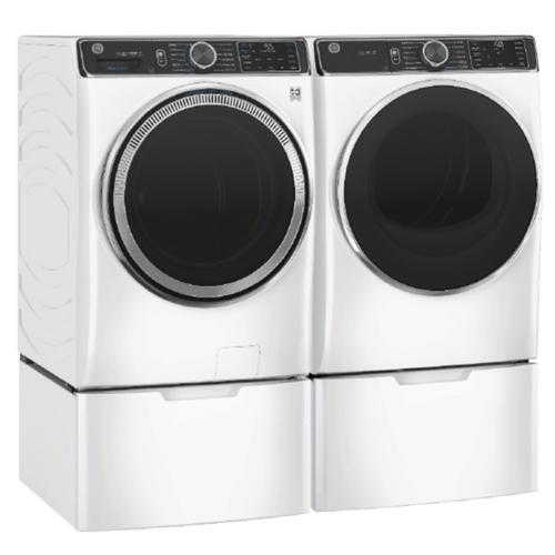 GE Smart Front Load 5.0 cu. ft. Capacity Steam Washer & 7.8 cu. ft. Electric Dryer w/ Pedestals- White