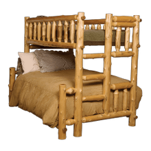 Cedar Log Twin/Full Bunk Bed-Ladder Left