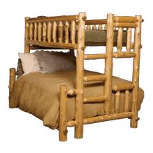 See Details - Cedar Log Twin/Full Bunk Bed-Ladder Left