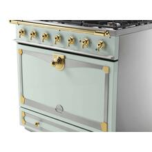 CornuFe 110 Dual Fuel Range - Suzanne Kazler Couleurs - Tapestry with Stainless Steel and Polished Brass Trim