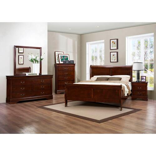 Louis Philippe Cherry Qn Bed, Dresser, Mirror and Nightstand