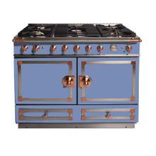 "View Product - CornuFe 110 cm Dual-Fuel Range (43"")- Provence Blue w/ Satin Chrome & Polished Copper Trim"