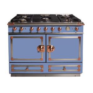 "La Cornue - CornuFe 110 cm Dual-Fuel Range (43"")- Provence Blue w/ Satin Chrome & Polished Copper Trim"