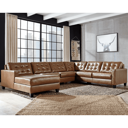 Baskove - Auburn - 3-Piece Sectional with Left Facing Chaise