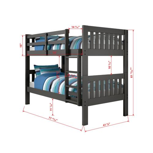 Donco Trading Company - Twin/Twin Mission Bunkbed - Dark Gray