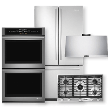 French Door Refrigerator, Double Wall Oven, Gas Cooktop & Hood Package- Open Box