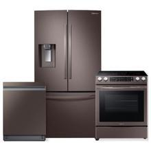 See Details - SAMSUNG 28 cu. ft. 3-Door French Door Full Depth Refrigerator- 3 Piece Package in Tuscan Stainless Steel