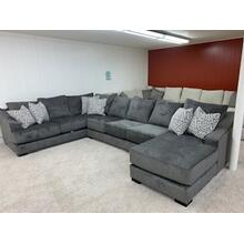 Stanton 376 Chaise Sectional in Lux Iron / Decor Silver / Decor Silver . 100%yester . CC:  WS