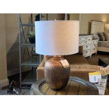 Bronze Hammered Style Table Lamp with Drum Shade