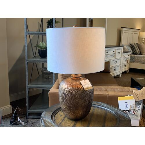 Tyndall Furniture & Mattress - Bronze Hammered Style Table Lamp with Drum Shade