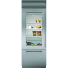 """View Product - 30"""" Classic Over-and-Under Refrigerator/Freezer with Glass Door"""