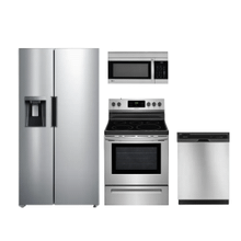 View Product - 4-Piece Kitchen Package with Side-by-Side Refrigerator in Stainless Steel