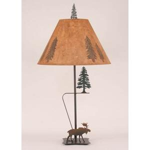 Iron With Moose & Pine Tree Table Lamp