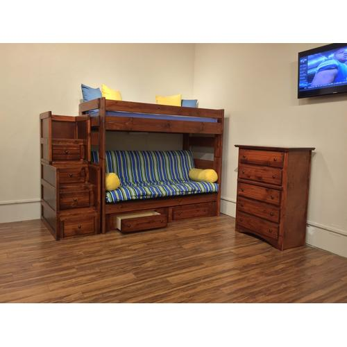 Futon Bunk Bed with Staircase Cocoa Finish