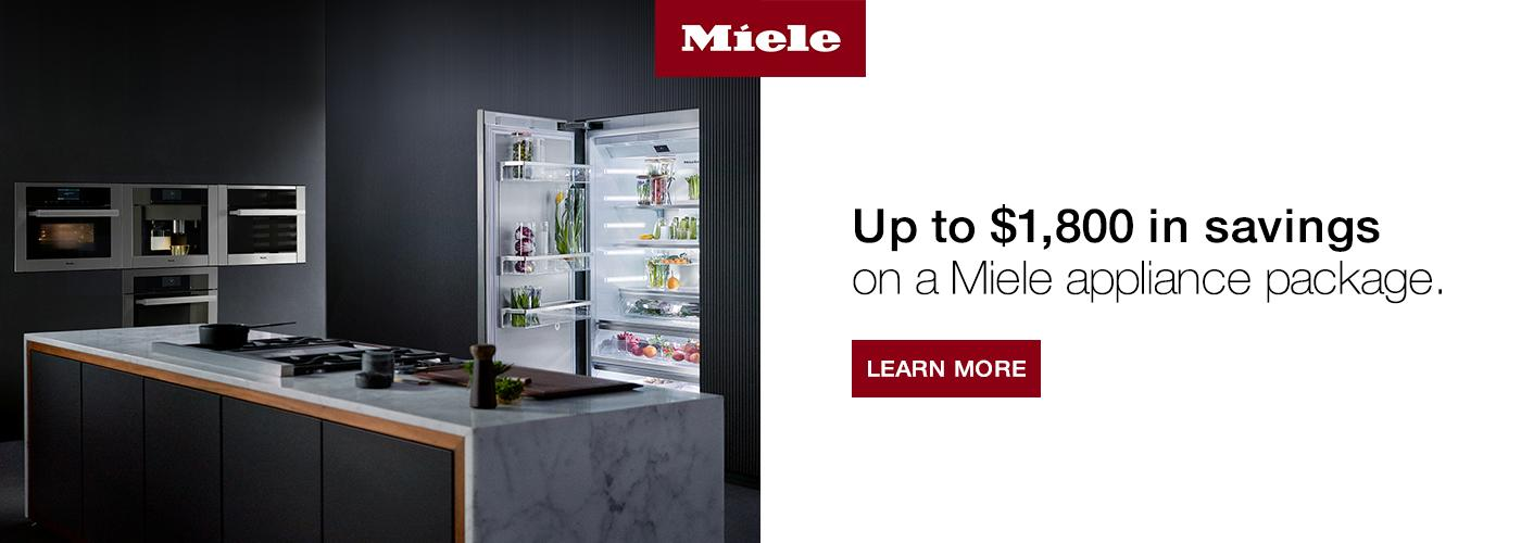 Up to $1,800 in savings on a Miele appliance package.