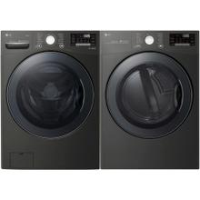 LG 4.5 cu. ft HE Ultra Large Smart Front Load Washer with TurboWash360, Steam & Wi-Fi in Black Steel, ENERGY STAR and 7.4 cu. ft Large Smart Stackable Front Load Electric Dryer w/ TurboSteam, Sensor Dry, Pedestal Compatible in Black Steel