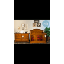 Closeout Pecan 4 in 1 Conversion Crib with Dresser!!