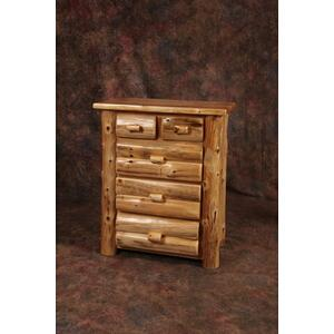 White Cedar 5 Drawer Log Chest