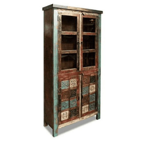 Bombay Carved Upright Storage Cabinet