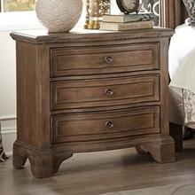 See Details - Trisha Yearwood Home Collection by Klaussner Jasper County Vintage Three Drawer Night Stand with Power Outlet
