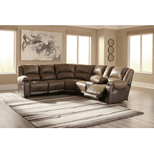 Nantahala - Coffee - 3 Recliner Sectional with Right Facing Console