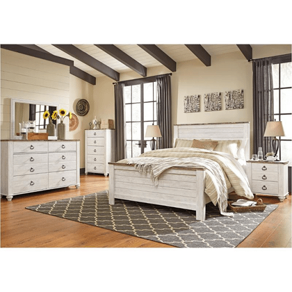 Willowton - Queen Bed, Dresser, Mirror, Nightstand, and Chest