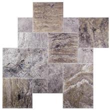 Silver Fantasy Brushed Chiseled French Pattern Travertine Tile (1/2)