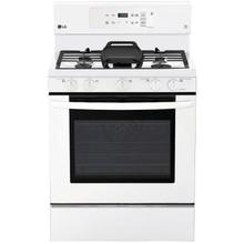 "LG 30"" Gas Range with 5 Sealed Burners and Storage Drawer - Smooth White"