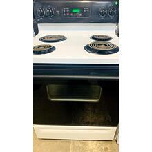 "USED-  White and Black GE® 30"" Free-Standing Electric Range- E30BLCOIL-U SERIAL #6"