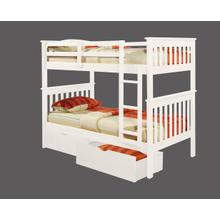 Twin-Twin Mission Bunk Bed with optional Trundle or Drawer Unit