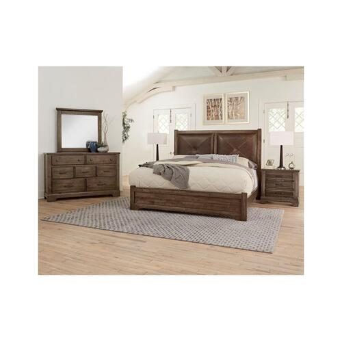 Queen Cool Rustic Mink Leather Bed with Double Side Storage