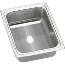 """See Details - 13"""" ELKAY Top Mount Single Bowl Stainless Steel Sink with 20-Gauge, 6-1/8"""" Bowl Depth, Self-Rim and No Faucet Ledge: U-Channel Type Mounting System"""