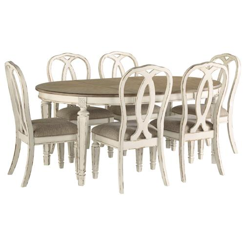 D743 Oval Table with 6 chairs and ext leaf