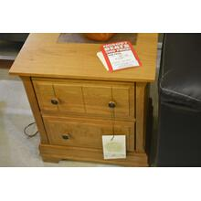 Light stained wood night stand with 2 drawers.
