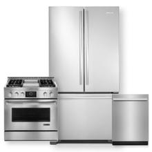 """See Details - JENNAIR 72 Counter Depth French Door Refrigerator & 36"""" Pro-style Dual-fuel Range  3 Pc Package- Minor Case Imperfections"""