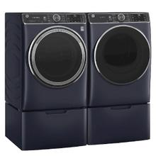 GE Smart Front Load 5.0 cu. ft. Steam Washer & 7.8 cu. ft. Electric Dryer w/ Pedestals- Sapphire Blue