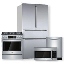 See Details - 800 Series French Door Bottom Mount Refrigerator w/ Pocket Handles & Slide-In Gas Range Package