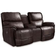 Trouper Leather Reclining Loveseat w/ Console in Walnut      (490-724-LB172779,44992)